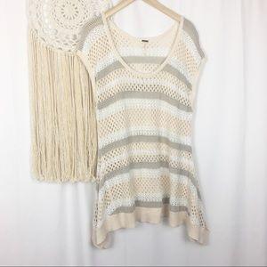 Free People Striped Open Crochet Knit Cream Blouse